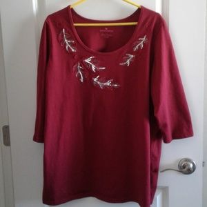 Woman Within red top embellished scoop 1X